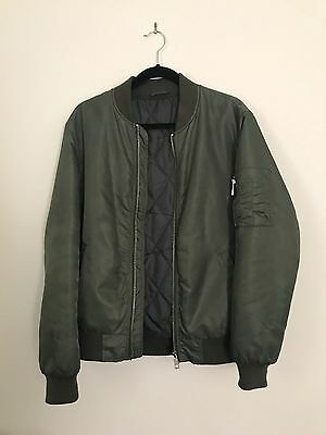 Men's River Island Green Military Bomber Flight Jacket in Size M