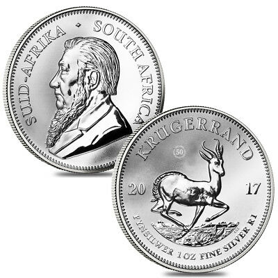 Lot of 2 - 2017 South Africa 1 oz Silver Krugerrand Premium Uncirculated (50th A