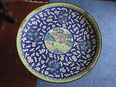 Fantastic Antique Chinese Charger. Enamel on Copper. Early 1900s