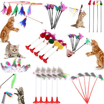 5Pcs Kitten Play Interactive Fun Toy Cat Teaser Wand Pet Colorful Feather + Bell