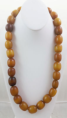 Antique 1930's Tribal Mali West African Manmade Amber x27 Bead Strand Necklace