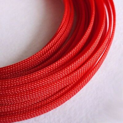 8MM Red Tube PET Expandable Braided Sleeving Cable High Densely 1/3/5/10/20M