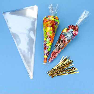 Party Sweet Candy Clear Plain Cone Cellophane Bags 100pcs Triangle Travel Tool
