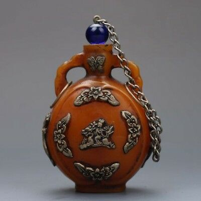 Chinese Beeswax inlaid with silver Flower& Dragon snuff bottle