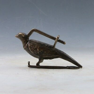 Old Handwork China Bronze Usable Double Bird Shaped Lock and Key