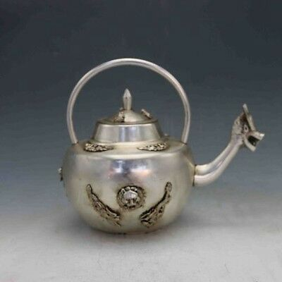 Chinese Silver Copper Hand Carved Dragon mouthTeapot&Frog cover