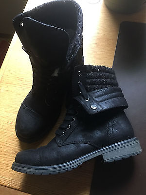 Women's ROXY Folded Ankle Leather Boots US 9 Black Cap Toe Lace up Low Heel