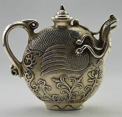 Chinese Collectible Decorated Old Handwork Tibet Silver Carved Phoenix Tea Pot