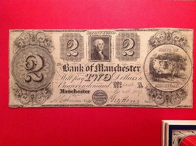 BANK OF MANCHESTER MICHIGAN $2 Two Dollar Obsolete Note NOV 20, 1837