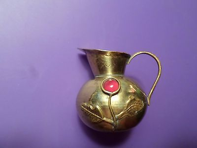 Miniature Vintage Brass Pitcher With Flower Decoration, 1 3/4""