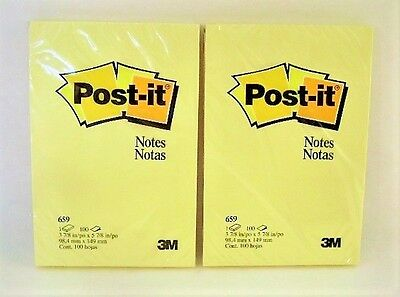Post-it Notes 4 x 6-Inches Canary Yellow Unlined 2-Pads/Pack New Factory Sealed