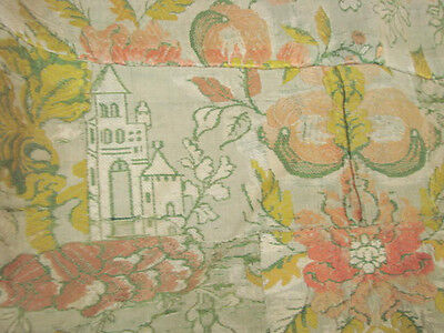 Vintage Antique 18C Fabric Coverlet Silk Embroidery French 54x114 Brocade Castle