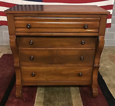 Solid Walnut Empire Style 4 Drawer Chest Of Drawers