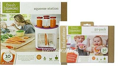 Infantino Squeeze Station + 50 Pouches Baby Food Storage Set NEW