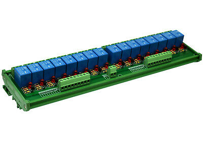 DIN Rail Mount 16 SPDT 10A Power Relay Interface Module, SONGLE Relay 48V Coil