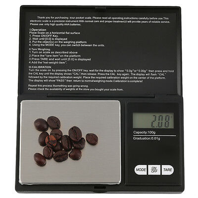 Pocket 100g x 0.01g Digital Jewelry Gold Gram Balance Weight Scale A#