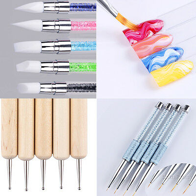 Nail Art UV Gel Brush Painting Drawing Dotting Pen Liner Paint Manicure Tools