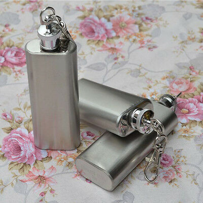 2 OZ Mini Hip Liquor Whiskey Alcohol Flask Bottle With Screw Cap Keychain