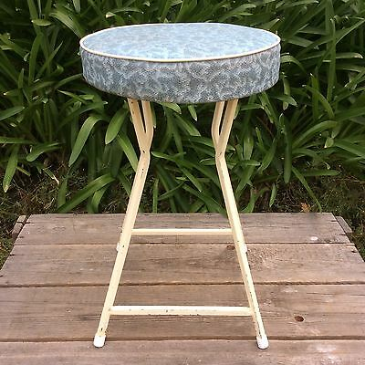 vintage RETRO STOOL metal base VINYL SEAT versatile little stool