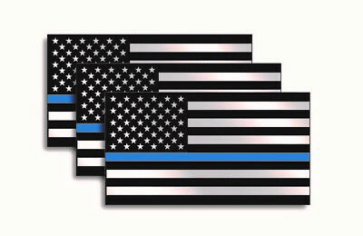 "Police Officer Thin Blue Line American Flag decal sticker graphic - 3"" x 5.5"""