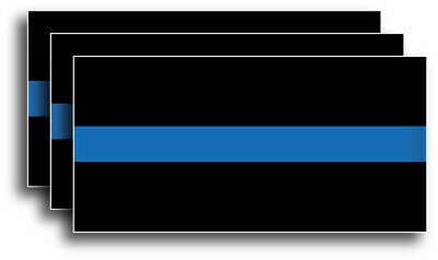 """Reflective Thin Blue Line Sticker Decal Police Support  FOP  4"""" x 2"""" 3M Officer"""