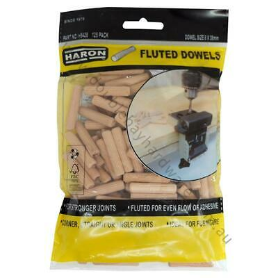 Haron Fluted Dowels 8mm X 38mm 125 Pieces Ideal For Furniture and Joints H5428