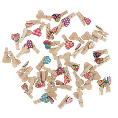 50pcs Mini Wooden Heart Pegs Wedding Photo Paper Pins Clothespin Wood Clips