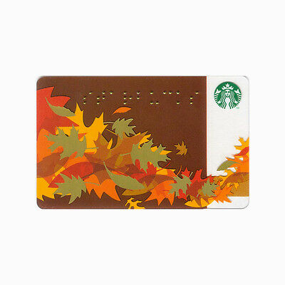 Lot of 5 Fall Braille (2011) Leaves Collectible Starbucks Gift Cards | #6069