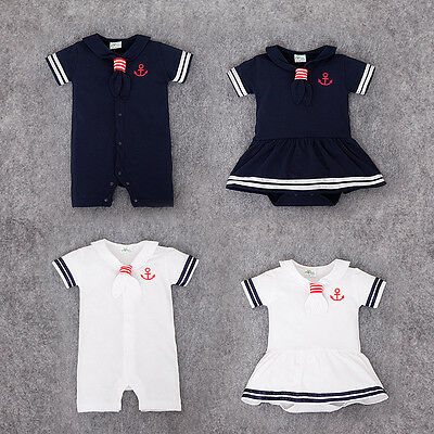 UK Baby Boy Girl Sailor White Navy Romper Suit Grow Dress Summer Outfit 0-24m