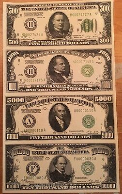 Copy Reproduction 1928 Green Seal 500-10k Uncut US Currency Sheet Paper Money