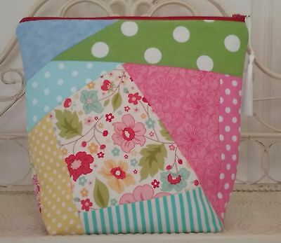 Crazy Patch Bright Polka Dot Floral Knitting,Crochet Project Bag