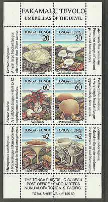 TONGA 1997 FUNGI MUSHROOMS 6v Souvenir Sheet MNH