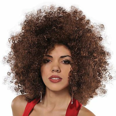 70s Brown Afro Wig Adult Fancy Dress Groovy Disco Ladies 1970s Costume Accessory