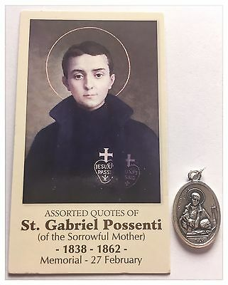 St Gabriel Possenti  Of The Sorrowful Mother Relic Medal And Prayer Card