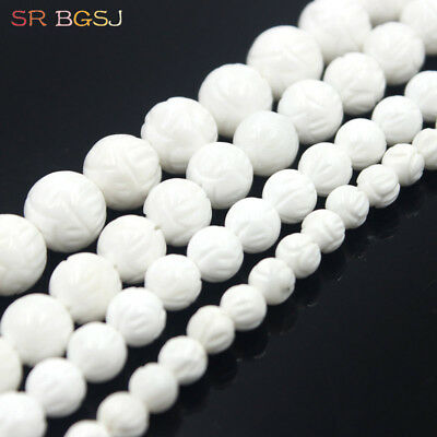 1 Strand Charming White Tridacna Carved Lotus Round Loose Beads 15.5inch DD2908