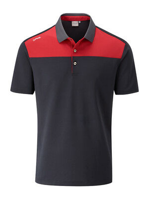 Ping Drake Tailored Fit Polo - Black/Rich Red