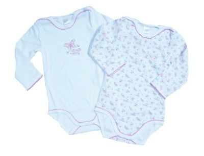 KANZ Long sleeved Baby body suit for girls in Pack Of 2 white sz. 62, 92