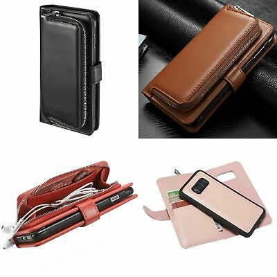 2 in 1 Case for Galaxy S8 S8 Plus Magnetic Flip Leather Wallet Zip Card Holder