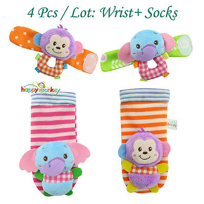 4pcs Baby Anima Wrist Foot Socks Rattles Hand Foot Finders Toys photography prop