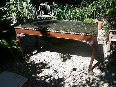 Antique Vintage Queen Anne Dining Table Glass Top Furniture Kitchen Formal