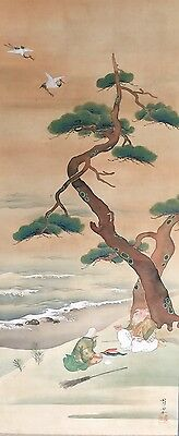 Vintage Hanging scroll Pleasure of the Old couple Under the Pine tree #09118