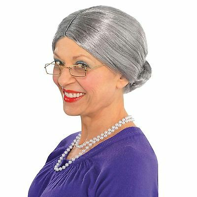 Ladies Old Granny Lady Wig Comedy Hen Night Adult Fancy Dress Costume Accessory