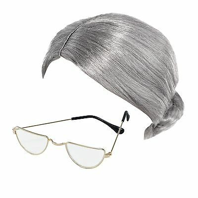 Old Lady Granny Bun Wig & Half Moon Glasses Specs Fancy Dress Costume Accessory