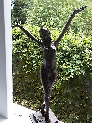 bronze dancer D H Chipan mounted on marble base Art Deco