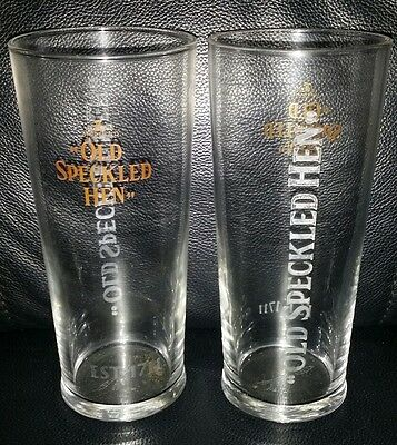 Pair Of Rare Collectable Morland Old Speckled Hen Pint Beer Glasses Brand New