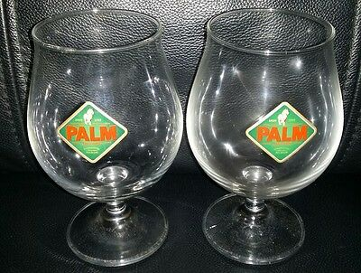 Pair Of Rare Collectable Palm Speciale Crystal Beer Glasses Brand New Never Used