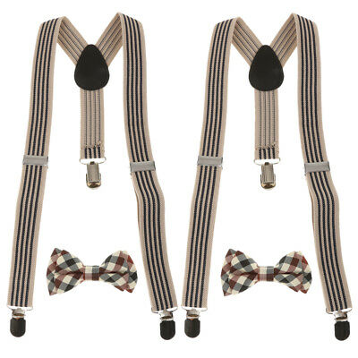 2x Adjustable Suspender Clip-on Braces Bow Tie Set for Baby Toddler Kid Boy