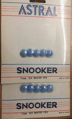 10 X Astral Snooker 11mm Elkmaster Tips Snooker Blue Games Accessories