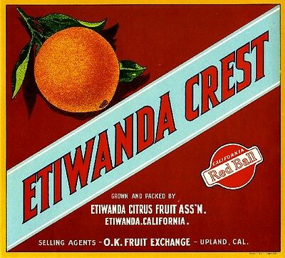 Etiwanda Upland San Bernardino Crest Orange Citrus Fruit Crate Label Art Print