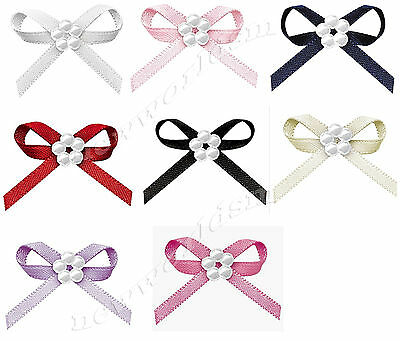 NEW 30mm Bowknots 5 Pearl Beads 3mm Double Sided Satin Ribbon Eco Quality Craft